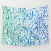 waves Wall Tapestries featuring Ombré Waves by Cat Coquillette
