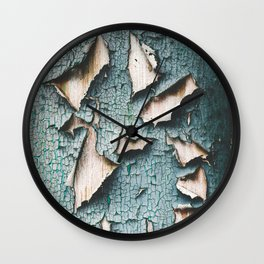 Rustic old light blue green peeling paint Wall Clock
