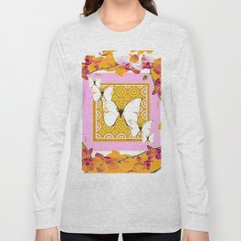 White Butterflies Orchid Sprays Purple Lilac-Gold Patterns Long Sleeve T-shirt
