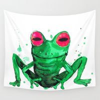 frog Wall Tapestries featuring Frog by Bwiselizzy