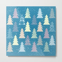 Winter in the forest with snow Metal Print