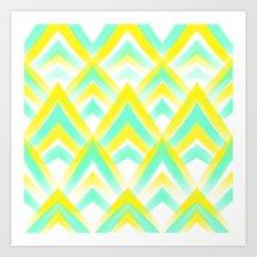 Modern summer lemon mint acrylic chevron scallop geometric pattern Art Print