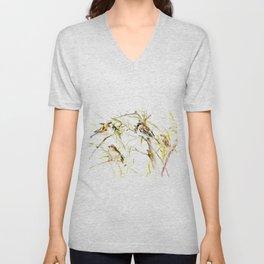 Sparrows neutral colored bird design birds, sparrows Unisex V-Neck