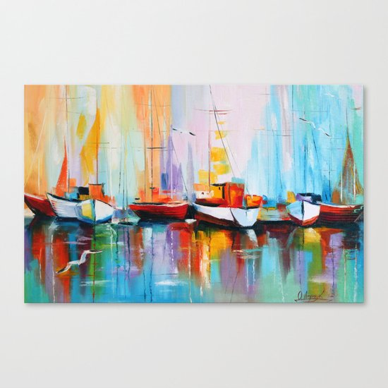 Boats at the dock Canvas Print