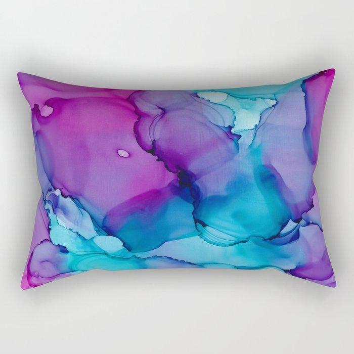 Alcohol Ink - Wild Plum & Teal Rectangular Pillow