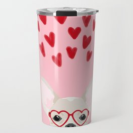 Chihuahua head dog gifts valentines day love hearts chihuahuas chiwawa Travel Mug