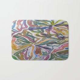 Abstract Flowers Watercolor Painting Bath Mat