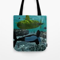 submarine Tote Bags featuring Submarine by nicky2342