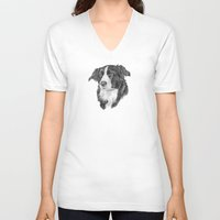 border collie V-neck T-shirts featuring Border collie 2 by Doggyshop