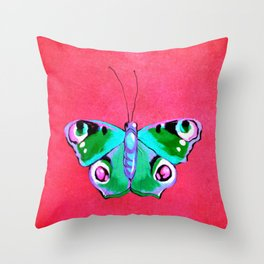 Blue and Green Butterfly on Pink Background Throw Pillow