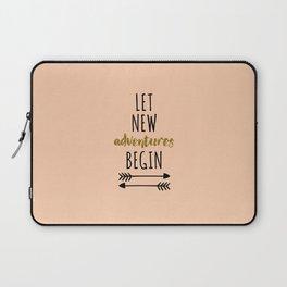 New Adventures Travel Quote Laptop Sleeve