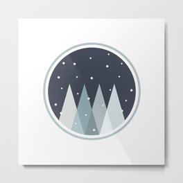 Snow on Pine Forest Metal Print