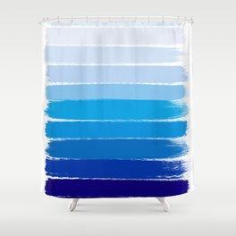Kent - blue ombre brush strokes art Shower Curtain