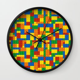 Colored Building Blocks Wall Clock