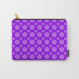 Violet White Pentacle Pattern Carry-All Pouch