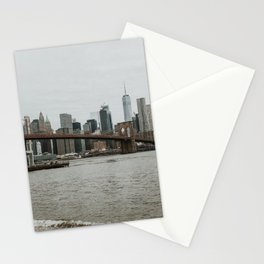 Skyline with Brooklyn Bridge from Pebble Beach | Colourful Travel Photography | New York City, America (USA) Stationery Cards