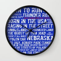 springsteen Wall Clocks featuring Springsteen Top 25 Songs by Rising Trout Design