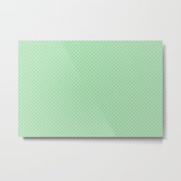 White & Pastel Green Angled Grid Line Pattern Pairs To 2020 Color of the Year Neo Mint 065-80-23 Metal Print