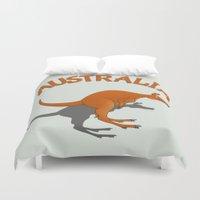 australia Duvet Covers featuring Kangaroo Australia by mailboxdisco