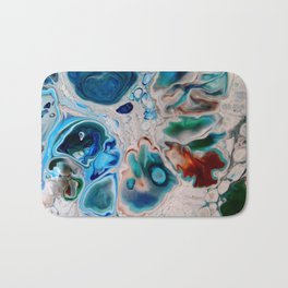 In Too Deep  - Unique Blue Fluid Abstract Painting Bath Mat