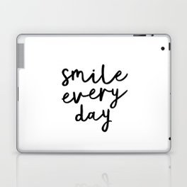 Smile Every Day black and white contemporary minimalism typography design home wall decor bedroom Laptop & iPad Skin