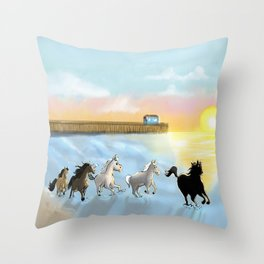 Horses on the beach Throw Pillow