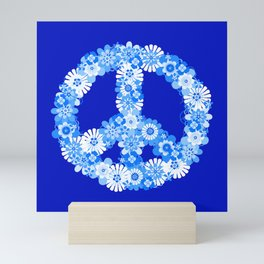 Peace Sign Floral Blue Mini Art Print
