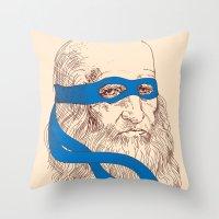 leonardo dicaprio Throw Pillows featuring Leonardo by Fresco Umbiatore