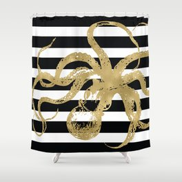 Gold Octopus on Black & White Stripes Shower Curtain