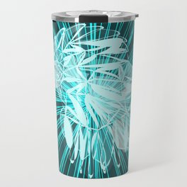 Glowing blue bird in chaotic azure lines. Travel Mug