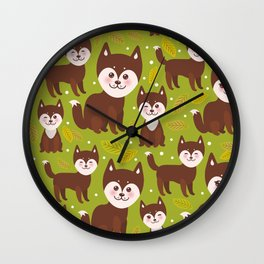 seamless pattern funny brown husky dog and leaves, Kawaii face with large eyes and pink cheeks Wall Clock