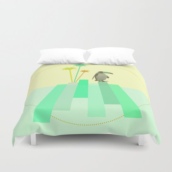 The penguin who wanted to be a tucan on its iceberg Duvet Cover