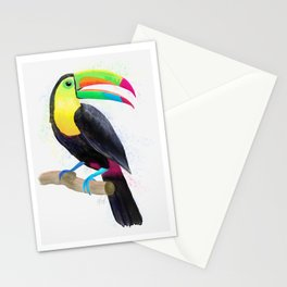Colorful Tropical Toucan Watercolor Painting , Birds Collection  Stationery Cards