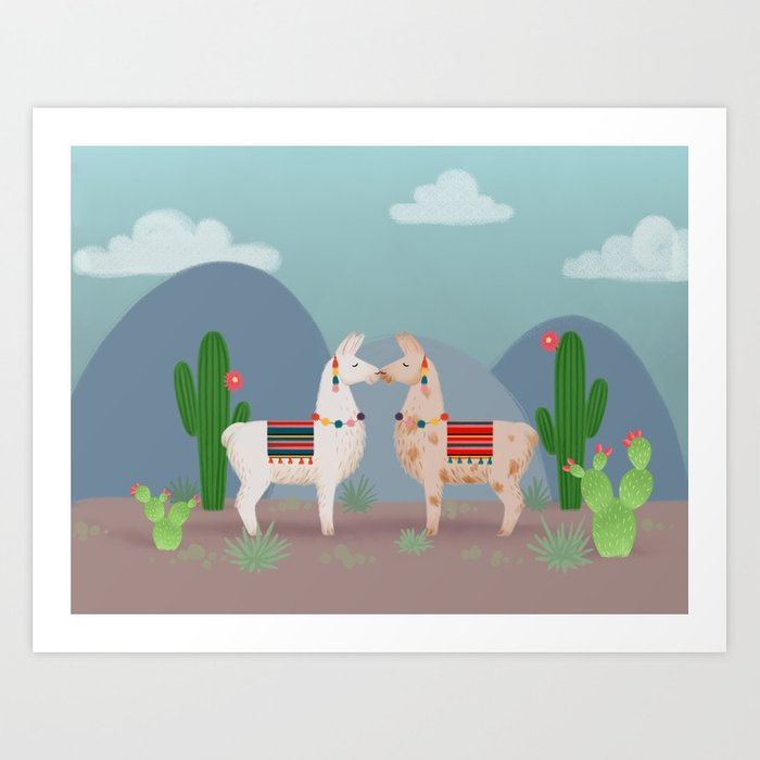 Cute Llamas Illustration Kunstdrucke