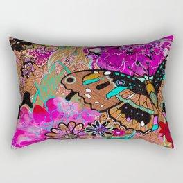 Neon Butterflies Rectangular Pillow