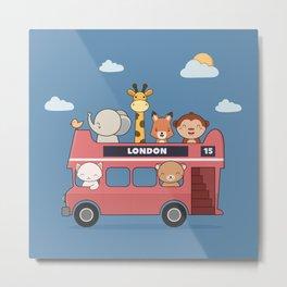 Kawaii Cute Zoo Animals On A London Bus Metal Print