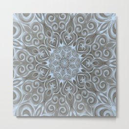 Light Blue Center Swirl Mandala Metal Print