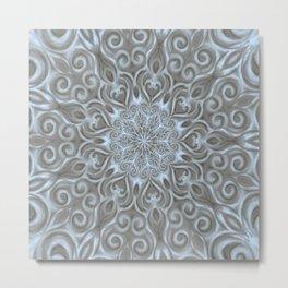 Light Blue Center Swirl Mandala Metal Print