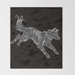 Shimmering Silver Ghost Wolf Throw Blanket