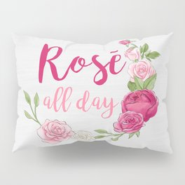 Rose All Day - White Wood Pillow Sham