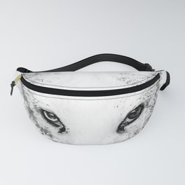 arctic fox bicolor eyes ws bw Fanny Pack