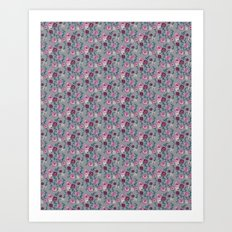 floral grey pattern Art Print