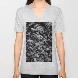 closeup leaf texture in black and white Unisex V-Neck