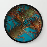 lobster Wall Clocks featuring Lobster by comma black