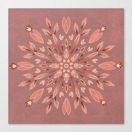 Peachy Fall Mandala Canvas Print