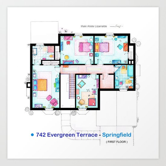 The house of Simpson family - First floor Art Print