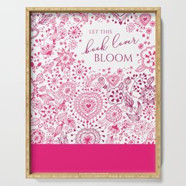 Book lovers bloom with flowers Serving Tray