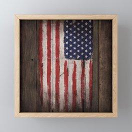 Wood American flag Framed Mini Art Print