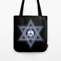 israel Tote Bags featuring Israel Peace Symbol - 032 by Lazy Bones Studios