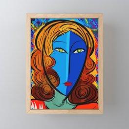 Blue Girl série portrait pop and fauve art Framed Mini Art Print